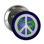 Earth Peace Sign (Metal Pinback Button)