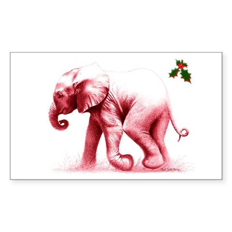 Christmas Baby Elephant Rectangle Sticker Christmas Sticker Rectangle by CafePress