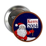 Santa Supports John Kerry 2004 Button