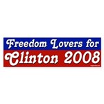 Freedom Lovers for Clinton 2008 sticker