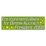Environmentalists for Kucinich 2008 Sticker