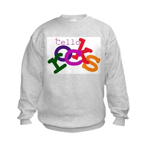 'Cello Rocks  I love cello Kids Sweatshirt by CafePress