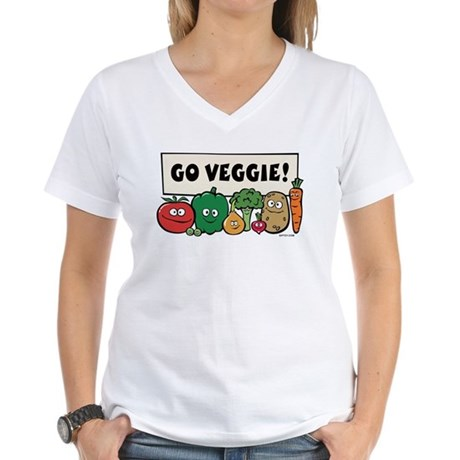 Go Veggie! Women's V-Neck T-Shirt