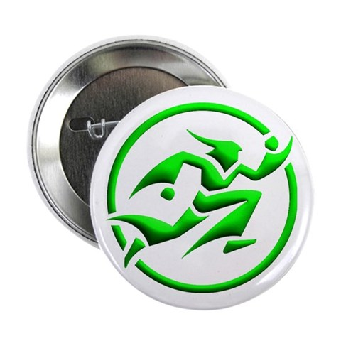 'Running Wizard' Button 3D, green on white Green 2.25 Button by CafePress