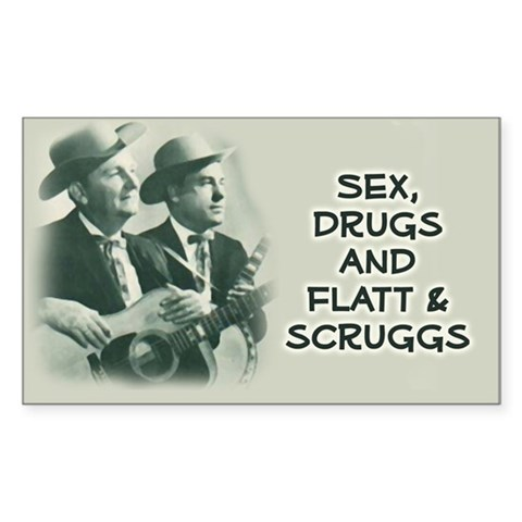 : Flatt  Scruggs Bluegrass music bano mandolin guitar picking flatt Rectangle Sticker by CafePress