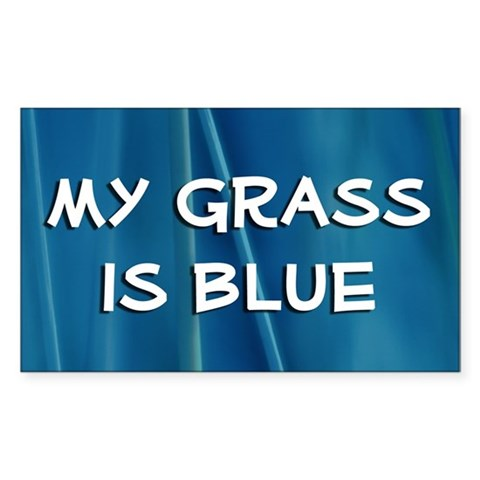 : My grass is blue Bluegrass music banjo mandolin picking Rectangle Sticker by CafePress