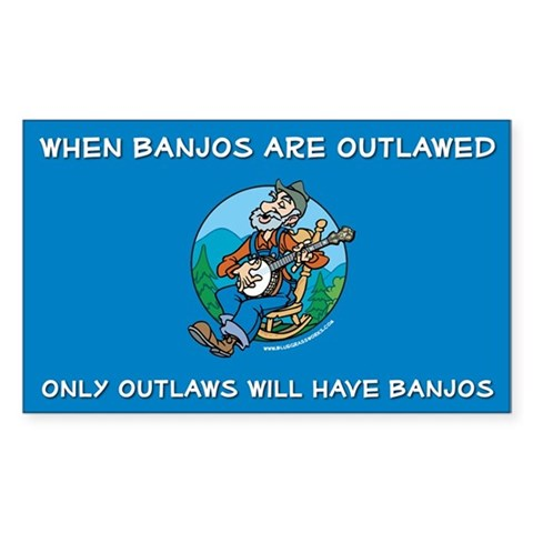 : Banjoman Outlaw Bluegrass music banjo mandolin picking Rectangle Sticker by CafePress