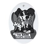 The Bark Stops Here Ornament (Oval)