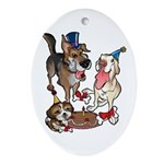Birthday Dogs Ornament (Oval)