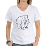 Elephant Sketch Women's V-Neck T-Shirt