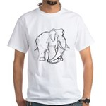 Elephant Sketch White T-Shirt