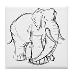 Elephant Sketch Tile Coaster