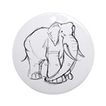 Elephant Sketch Ornament (Round)