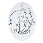 Elephant Sketch Ornament (Oval)