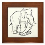 Elephant Sketch Framed Tile
