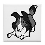 Collie Play Bows Tile Coaster