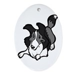 Collie Play Bows Ornament (Oval)