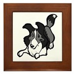 Collie Play Bows Framed Tile