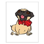 Pug with a bow Small Poster