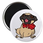 "Pug with a bow 2.25"" Magnet (10 pack)"