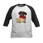 Pug with a bow Kids Baseball Jersey
