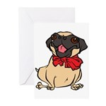 Pug with a bow Greeting Cards (Pk of 10)