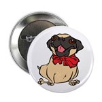"Pug with a bow 2.25"" Button (10 pack)"