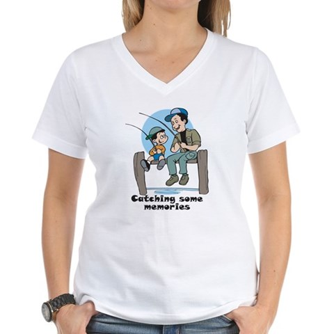 Gifts for dad fishing memories Women's V-Neck T-Sh Cute Women's V-Neck T-Shirt by CafePress