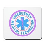 EMT theme logos in pastels and light blue colors makes a great mousepad for your home or office.
