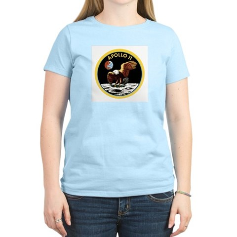 Space Christmas Gift Womens Pink T-Shirt Apollo 11 Christmas Women's Light T-Shirt by CafePress