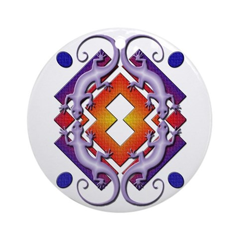 Purple Gecko Ring Ornament Round Native american Round Ornament by CafePress