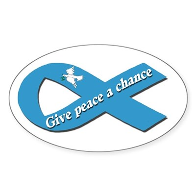 Peace Dove Ribbon Oval Sticker