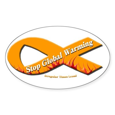 Stop Global Warming Orange Ribbon Sticker