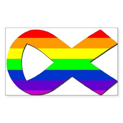 Rectangular Rainbow Ribbon Sticker