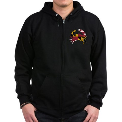 Product Image of Maryland State Flag Crab Zip Hoodie (dark)