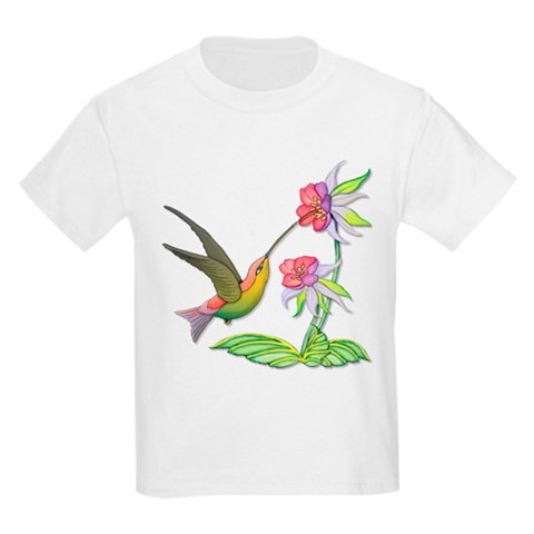 Hummingbird Flight  Art Kids Light T-Shirt by CafePress