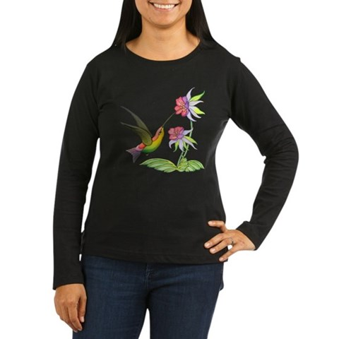 Hummingbird Flight Women's Long Sleeve Dark T-Shir Art Women's Long Sleeve Dark T-Shirt by CafePress