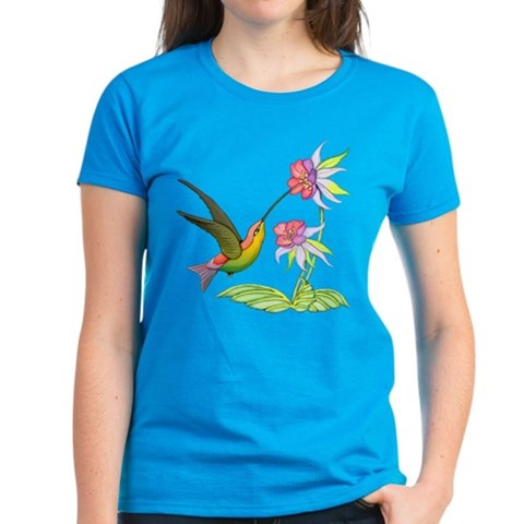Hummingbird Flight  Art Women's Dark T-Shirt by CafePress