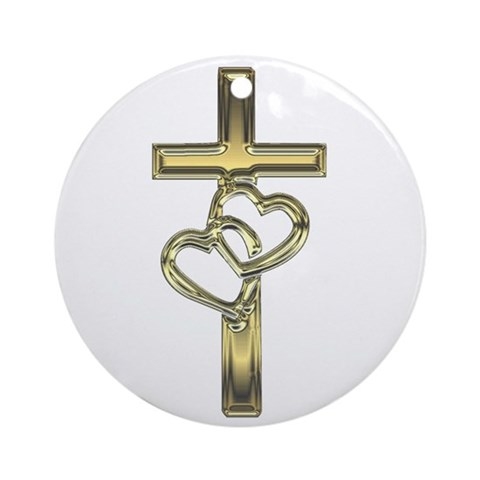Hearts and Cross Ornament Round Wedding Round Ornament by CafePress