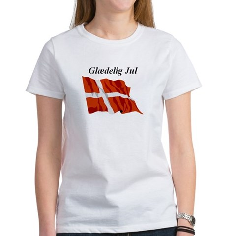 Danish Christmas Flag Christmas Women's T-Shirt by CafePress
