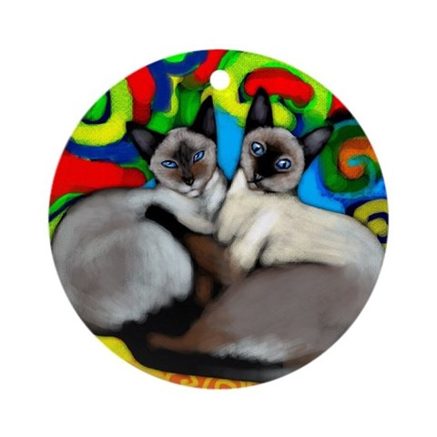Siamese Cats Ornament Round Cats Round Ornament by CafePress