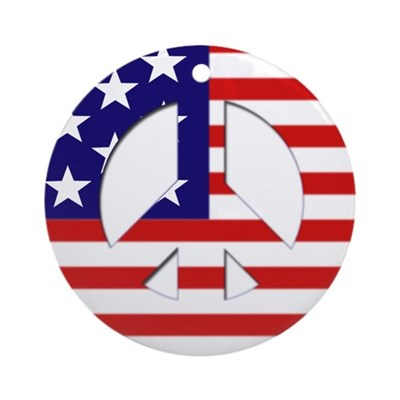 American Flag Peace Sign (tree ornament)