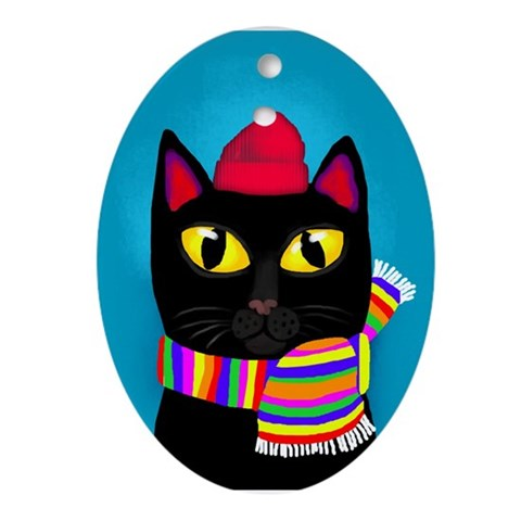 Black Cat Winter Cat Oval Ornament by CafePress