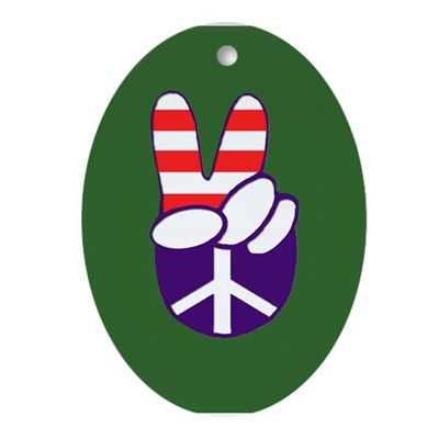 Patriotic Peace Hand (Christmas Ornament)