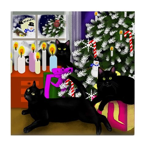 BLACK CAT CHRISTMAS Cats Tile Coaster by CafePress