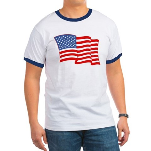 Product Image of American Flag 4th Of July Ringer T