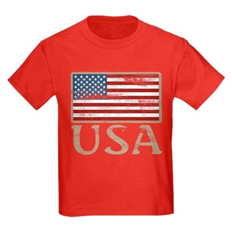 Product Image of USA Distressed Flag 4th of July Kids Dark T-Shirt