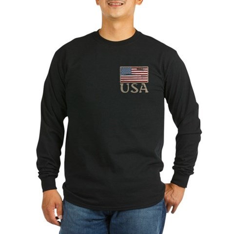 Product Image of USA Distressed Flag 4th of July Long Sleeve Dark T