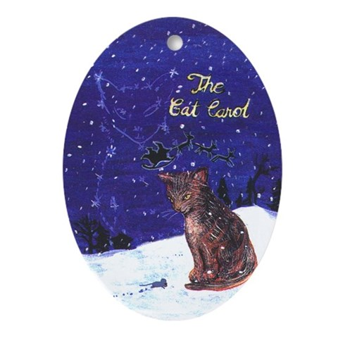 Cat Carol Cat Oval Ornament by CafePress