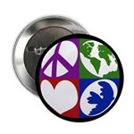 Peace Earth Love Dove Button (100 pack)
